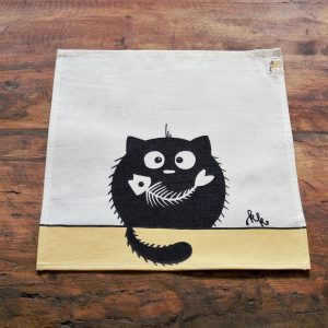 Textil szalvéta halcsontos cica dekorral #10