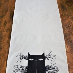 Asztali futó bajszos macska dekorral #15