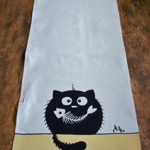 Asztali futó halcsontos cica dekorral #10