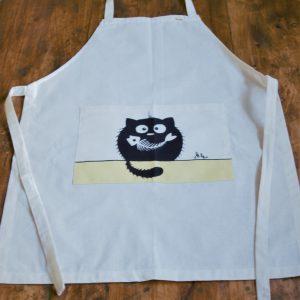 Vászon kötény halcsontos cica dekorral #10