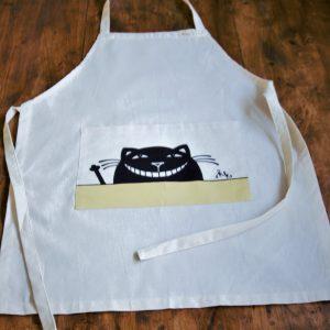 Vászon kötény vigyorgó macska dekorral #01