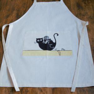 Vászon kötény gombolyagos cica dekorral #09