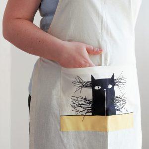 Vászon kötény bajszos macska dekorral #15