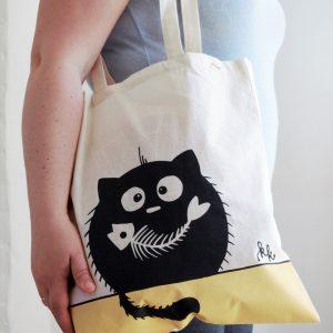 Vászon táska halcsontos cica dekorral #10