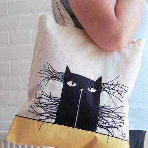 Vászon táska bajszos macska dekorral #15